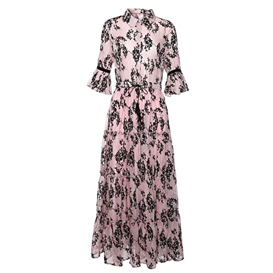 Eloise Isabel Fashion boho chic long bEANh dress colarinho turn-down manga flare floral impresso