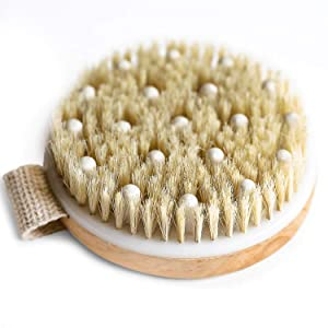 Dry Brushing Body Brush - Round Exfoliating Brush, Body Brush, Dry Brush for Cellulite and Lymphatic Drainage Massager, Body Scrubber Brush for Skin & Body Exfoliator, Skin Brush