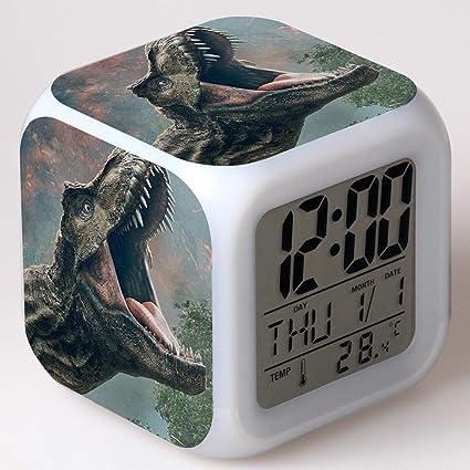 SXWY Jurassic World Alarm Clock Reloj Despertador Digital, Jurassic Park Luces de Colores Mood Alarm