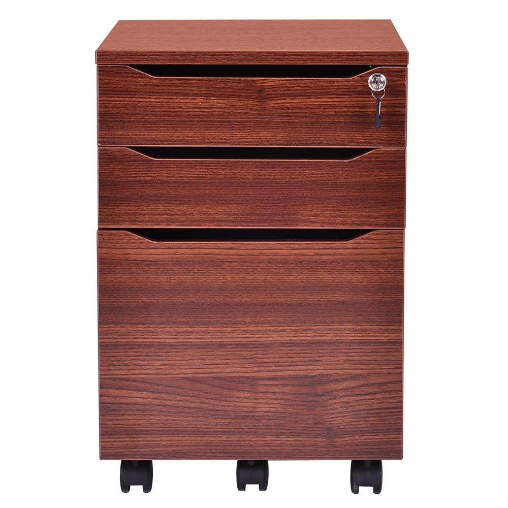 OSJ キャビネット 3段 A4対応 鍵付き キャスター付き 木製 (ブラウン) B07D28T74S  ブラウン
