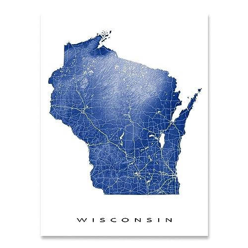 Amazon Com Wisconsin Map Print Wi State Art Milwaukee Usa Handmade