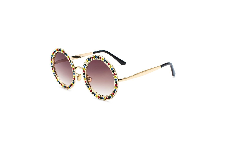 fb84b1eb55e2 Amazon.com  Black Sale Friday Deals Cyber Deals Monday Deals Sales 2018-Round  Rhinestone Sunglasses for Women Metal Frame Crystal Diamond Shades ...