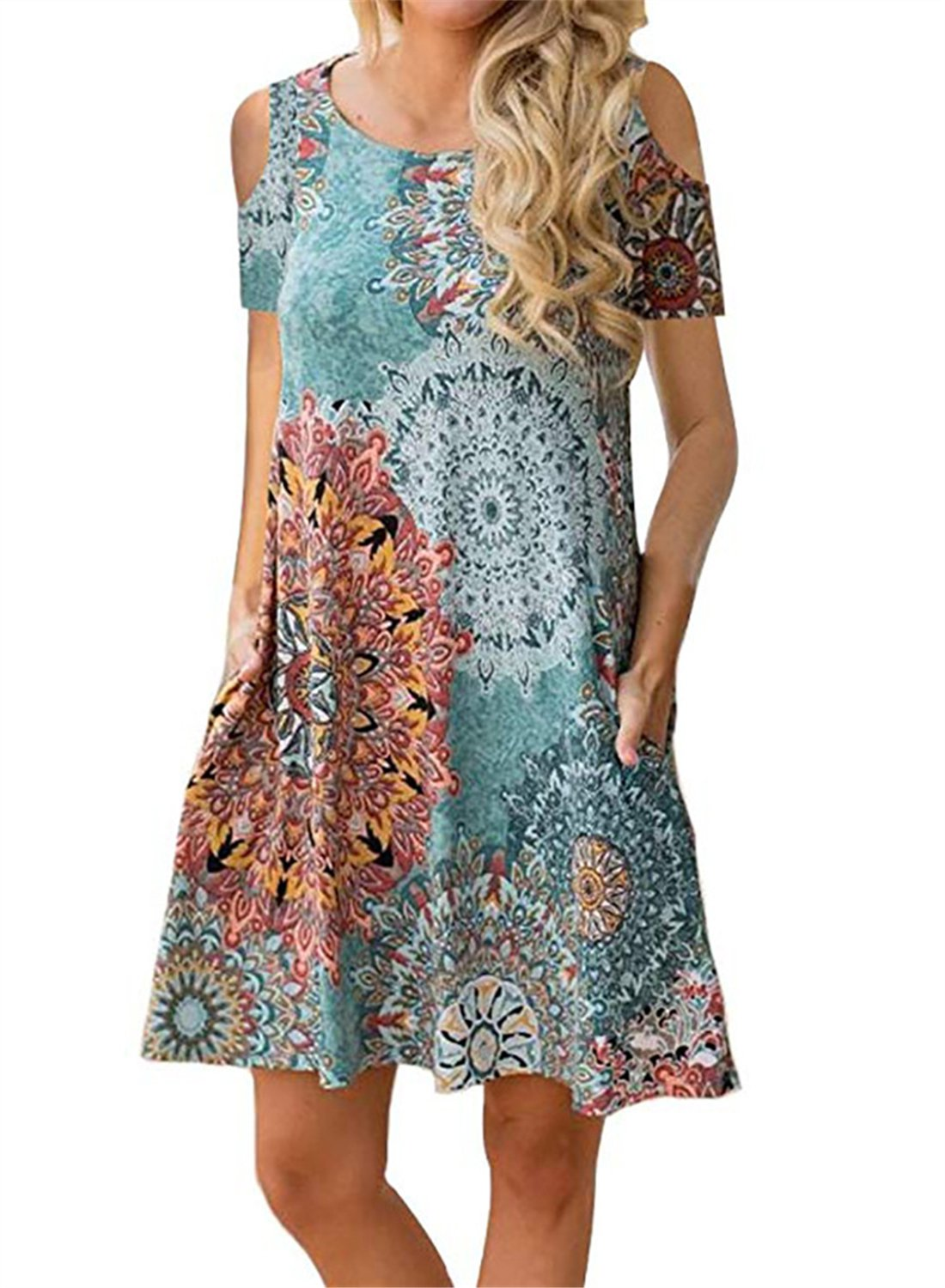 Mai Poetry Women's Floral Print Cold Shoulder Tunic Top Swing T-Shirt Loose Casual Dress with Pockets (Large, Flower 3)