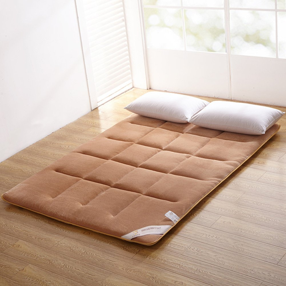 hxxxy Collapsible Tatami floor mat,Thin Foldable cushion mats Flannel Wick Washable Anti-skidding Breathable-Light tan 90x200cm(35x79inch)
