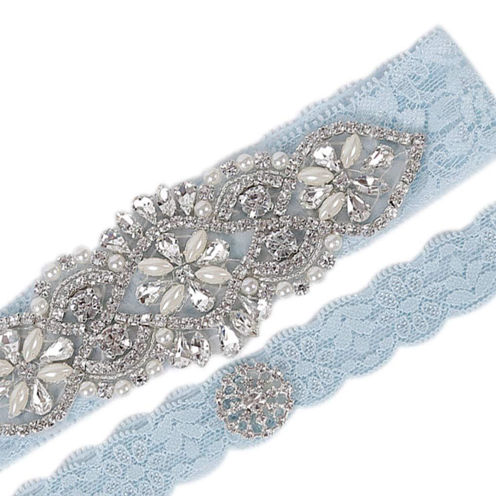 Set da Sposa in Pizzo Fiore Giarrettiera Nuziale Strass Reggicalze Set di Cristallo Leg Anello Cintura della Cinghia della Fascia Rekkle 2Pcs