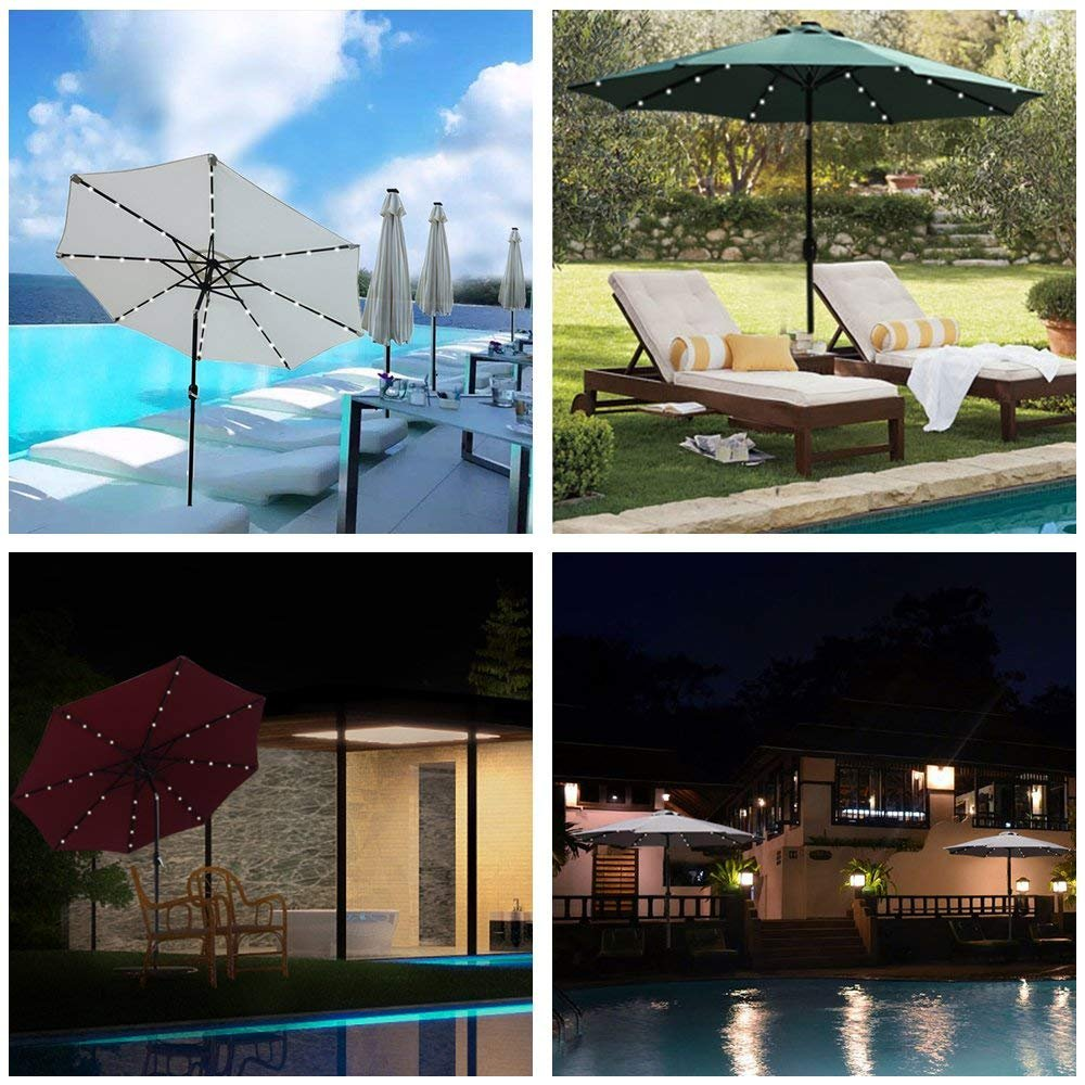 LED Patio Umbrella Lights 8 String 8 Lighting Mode Battery Operated Remote Control Decor Lighting Waterproof for Outdoor Patio Umbrella Table Bistro Pergola Tents Cafe Garden Beach Apply-Cool White by Asobilor (Image #2)