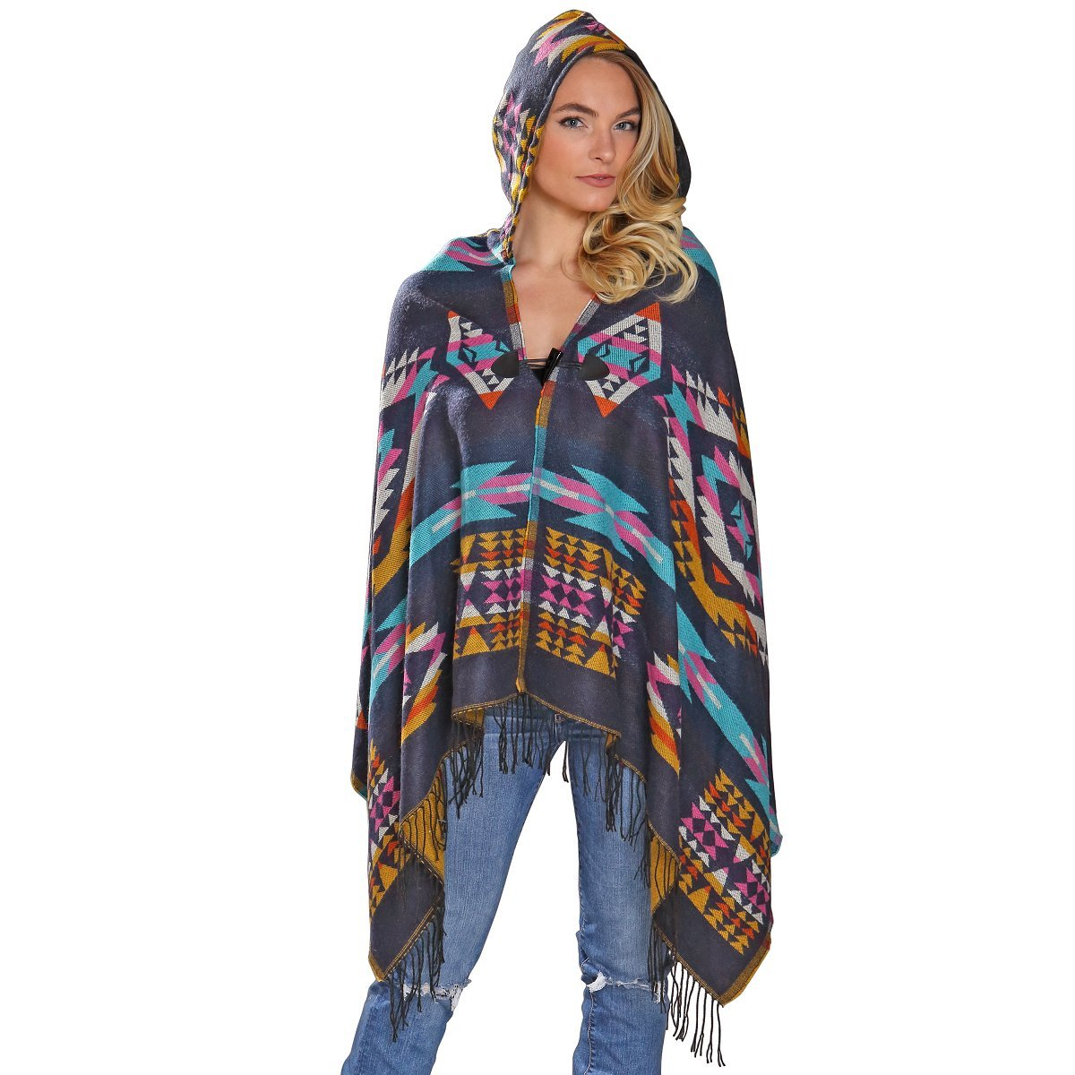 El Paso Designs Women's Hooded Poncho in Southwest Geometric Patterns and Rich Colors Cardigan Poncho Hoodie Cape With Fringe (Aztec 5)