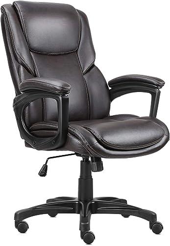 Komene Executive Office Chair Leather Ergonomic Home Office Desk Chair Swivel Mid Back Desk Chair
