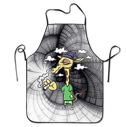 GAMSJM - Delantal de Cocina Personalizable, diseño de Jirafas y Dibujos Animados de algodón,