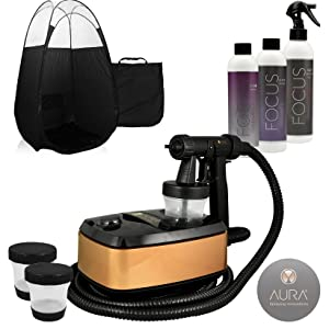 Aura Allure Spray Tan Machine Kit with Tanning Solution and Black Tent