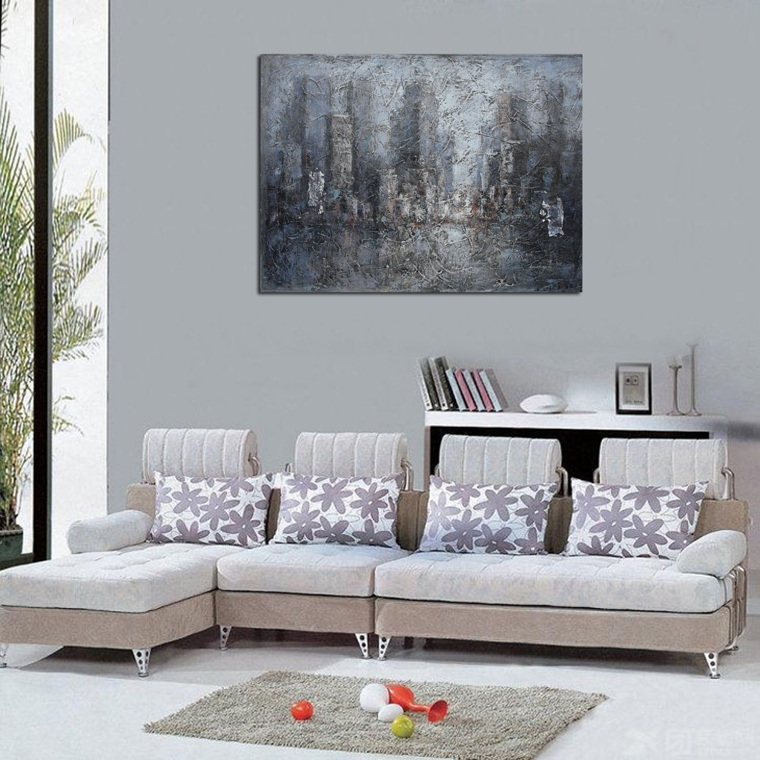 Modern Abstract Oil Paintings Wall Home Decor Artwork Abstract Extra Large-City Hand Painted on Canvas 24X30 Inch (Artwork Abstract Extra Large-City Printed Painting on Canvas) by B-Arts