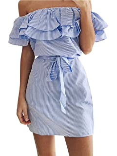 61cc1bcfb57a Shele Womens Summer Dresses Off Shoulder Striped Ruffles Strapless Dresses