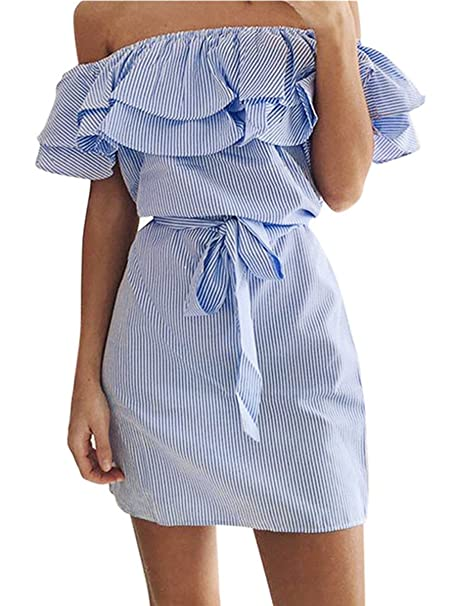 0aabdee14fc30 Shele Women s Casual Off Shoulder Striped Ruffles Strapless Short Dresses  Mini Dresses
