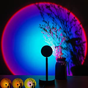 Sunset Lamp Projector LED Night Light Projection, TIK Tok Sunset Floor Lamp for Living Room Bedroom Decor Wall Decoration Romantic Visual Sunset Red Projection Lamp (Rainbow)