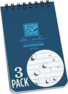 """product image for Rite in the Rain Weatherproof Top-Spiral Notebook, 3"""" x 5"""", Blue Cover, Universal Pattern, 3 Pack (No. 235-3)"""