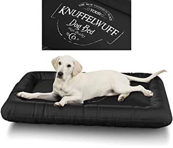 Knuffelwuff 13969 – 007 Cama Impermeable para Perros Avery con diseño Vintage, XXL, 120 x 85 cm, Color Negro