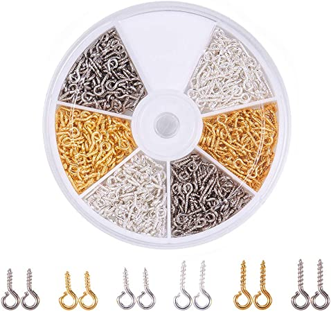 200 x Gold Plated Top Eye Peg Screw Eyes Bails 10mm x 4mm Craft findings 1ST P+P