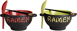 World Market Japanese Ceramic Ramen Bowl Set of 2 Noodle Bowl with Soup Spoon and Chopstick Soup Bowls for Noodle, Ramen, Udon, Miso, Thai, Pho Soup 17.5 Ounce Red Dragon and Green Rooster