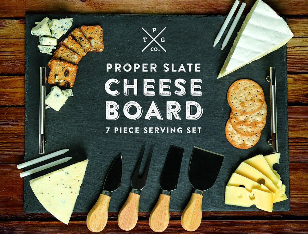 Slate Cheese Board - 7 pc Serving Tray Set 16''x12'' Large - Stainless Steel Handles - Soapstone Chalk - 4 Cheese Knives - Foam Protective Feet by Proper Goods