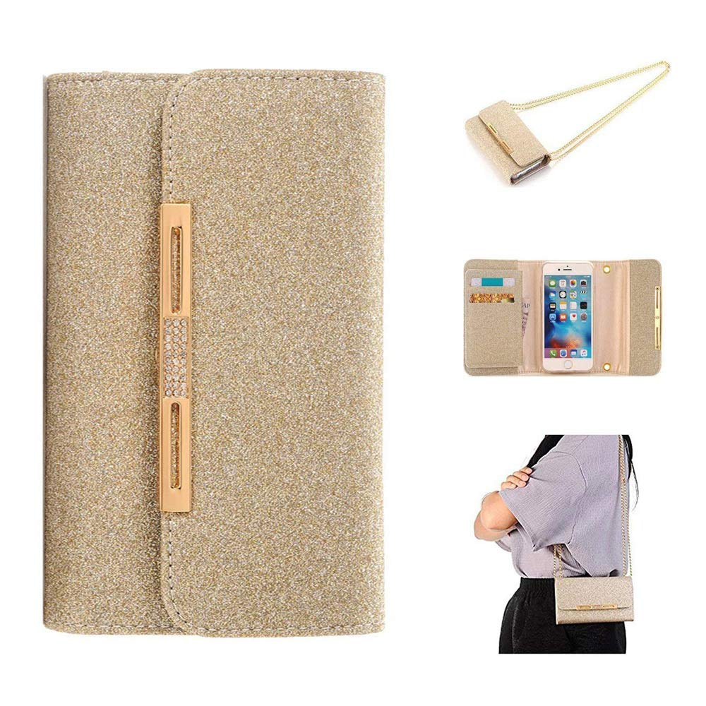 Apple iPhone X Case Wallet Cover,MeLiio Girls Cute Style Glitter Powder PU Leather Stand Flip Book Cover with Cards Slots Lady Multi Envelope Wallet Carrying Case Handbag for iPhone X 5.8 inch (Gold) by MeiLiio (Image #9)
