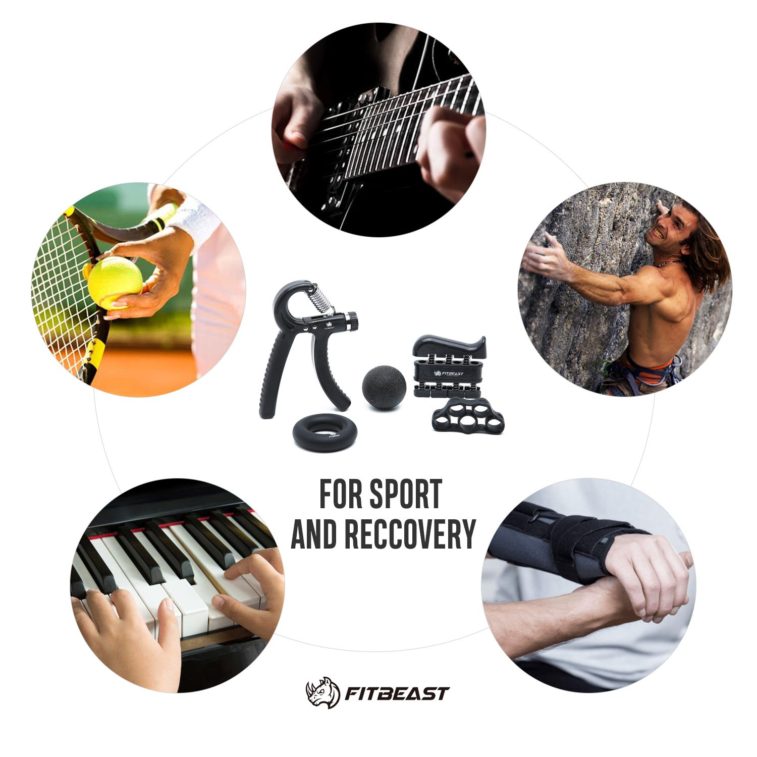 Hand Grip Strengthener Workout Kit (5 Pack) FitBeast Forearm Grip Adjustable Resistance Hand Gripper, Finger Exerciser, Finger Stretcher, Grip Ring & Stress Relief Grip Ball for Athletes and Musicians by FitBeast (Image #7)