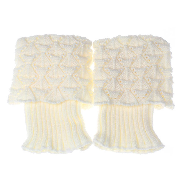 1 coppia donne donna inverno scaldamuscoli calze uncinetto maglia stivali calze White Vococal