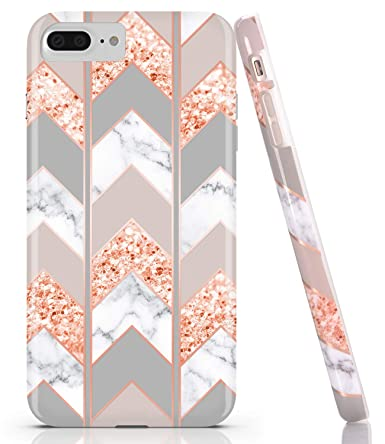 Baisrke Shiny Rose Gold Wave Geometric Marble Case Slim Soft Tpu Rubber Bumper Silicone Protective Phone Case Cover Compatible With Iphone 8 Plus 7