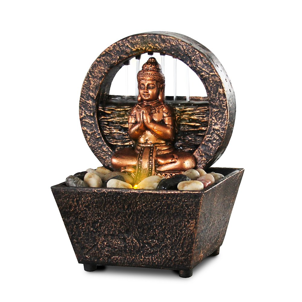 Newport coast collection Small Tranquil Buddha LED Water Fountain 7.2'' High (No Adapter)