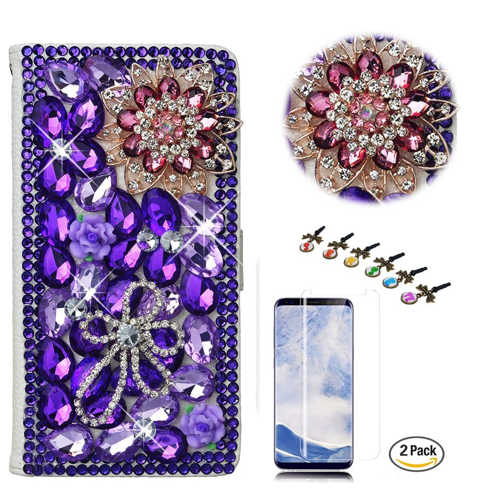 STENES LG K30 Case - Stylish - 3D Handmade Crystal Luxury Flowers Wallet Credit Card Slots Fold Media Stand Leather Cover with Screen Protector for LG K30/LG Premier Pro 4G LTE - Deep Purple