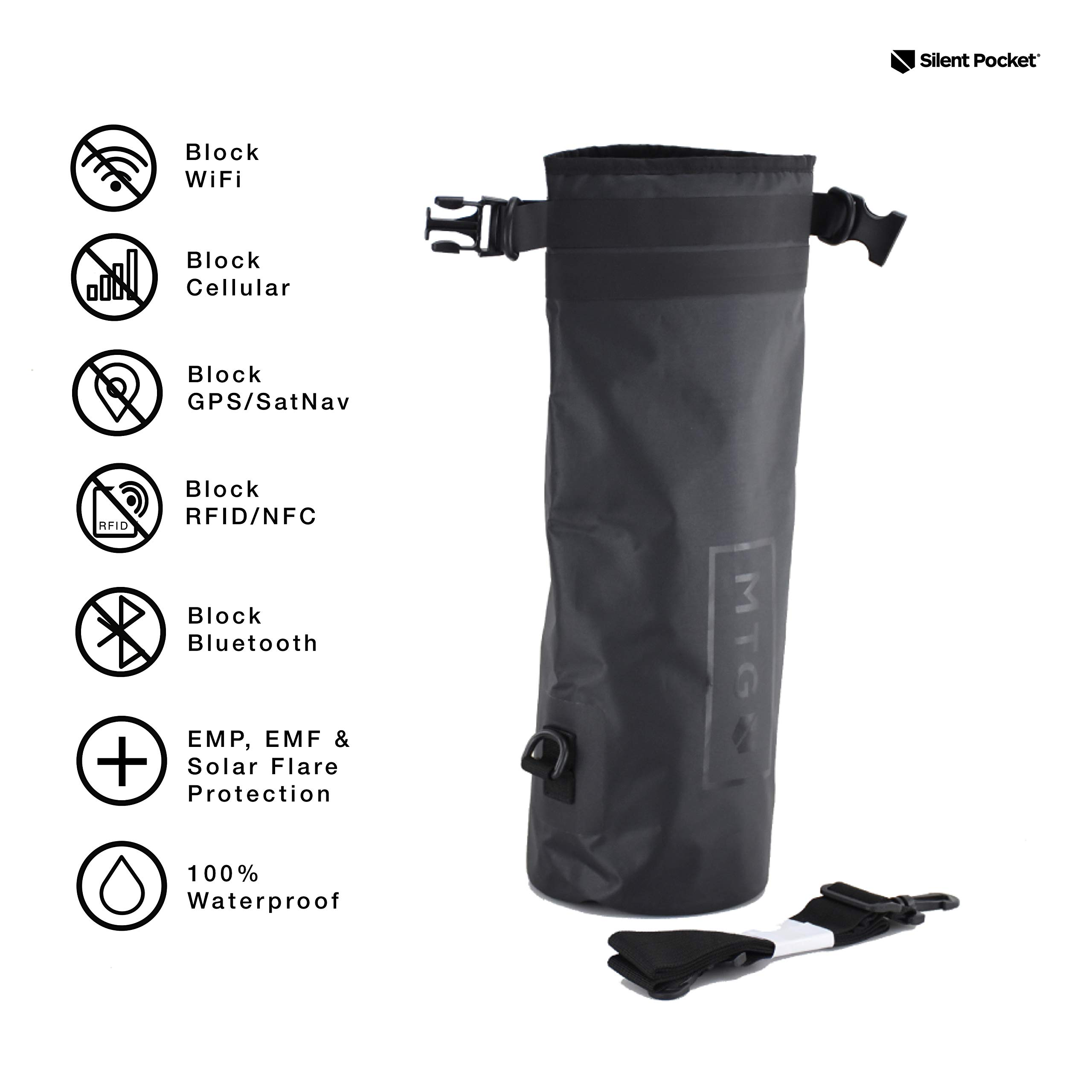 Silent Pocket Waterproof Faraday Dry Bag - Military-Grade Nylon 5 Liter Faraday Bag - RFID Signal Blocking Dry Sack/Waterproof Backpack Protects Electronics from Water, Spying, Hacking by Silent Pocket