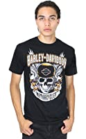 Harley-Davidson Mens Dueling Eagles with Skull Black Short Sleeve T-Shirt