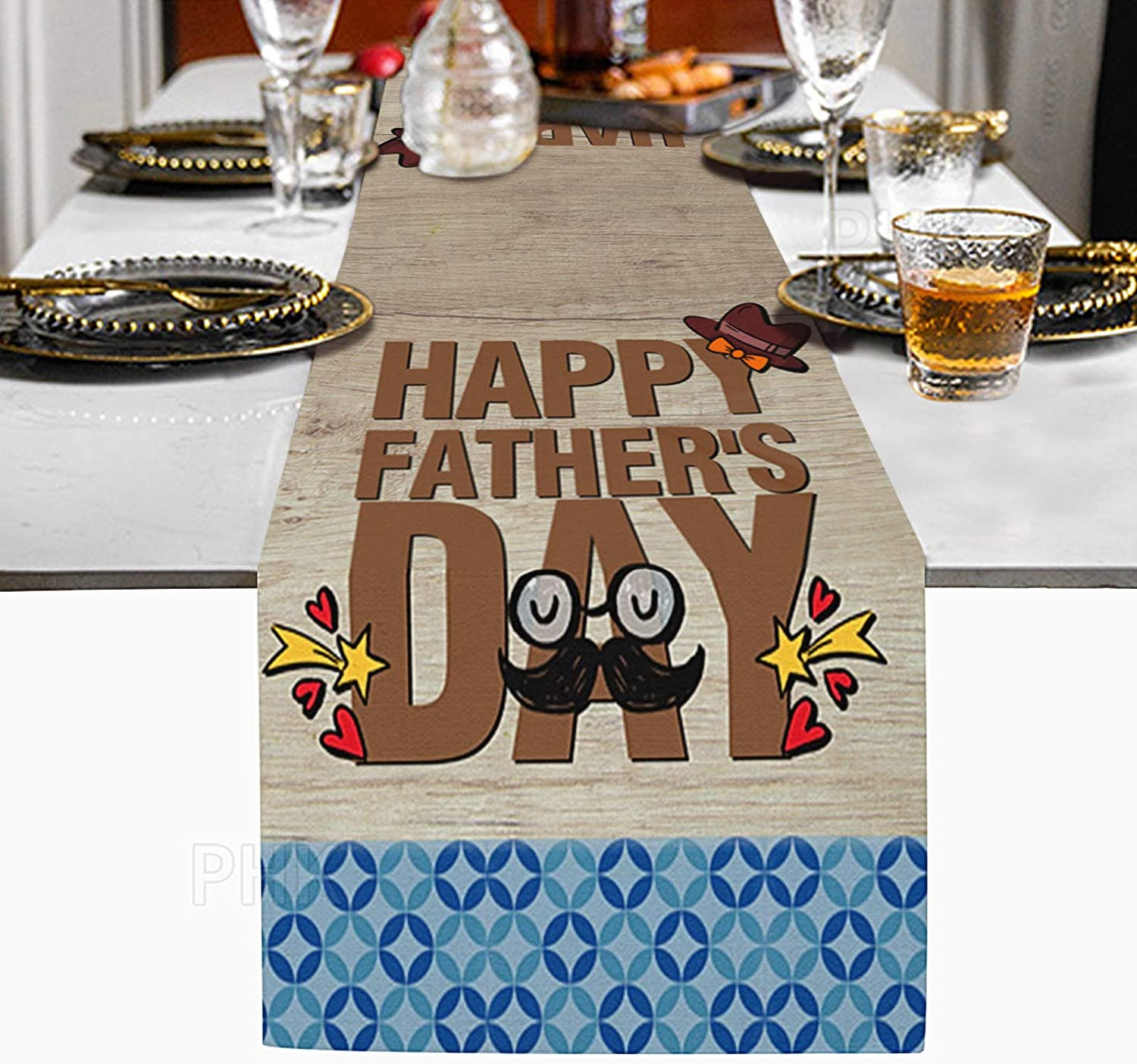 ziidoo Happy Father's Day Table Runners, Wood Grain Print Cotton Linen Table Runner for Dad, Home, Catering Events, Dinner Parties, Holiday Table Decorations 13 x 72 inch