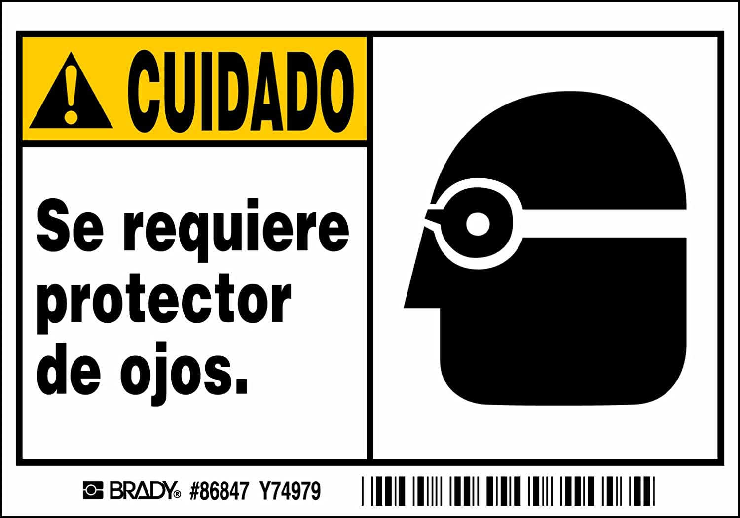 Legend Se Requiere Protector De Ojos. 3 1//2 Height x 5 Width 3 1//2 Height x 5 Width 5 Labels Labels per Package Brady 86847 Self Sticking Polyester Machine//Equipment Labels Black//Yellow On White