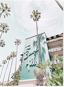"""YQLKC Poster Wall Art Beverly Hills Hotel Palm Tree Print Summer Canvas Painting Pictures for Living Room Home Decoration 19.6""""x27.5""""(50x70cm) Frameless"""