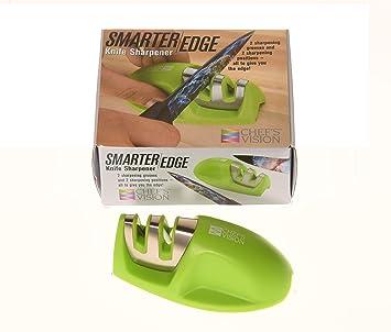 Smarter Edge Kitchen Knife Sharpener by Chefs Vision - Green V-Shape 2 Stage Sharpener - Blade Sharpener Tool - Colored Small Knife Sharpener - Top ...