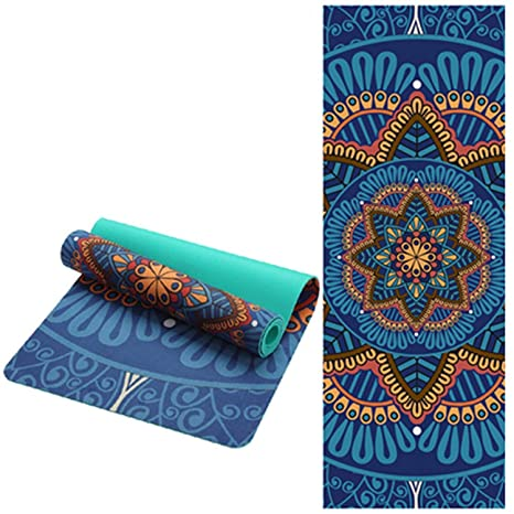 Amazon.com : Ting room 5 MM Lotus Pattern Suede TPE Yoga Mat ...