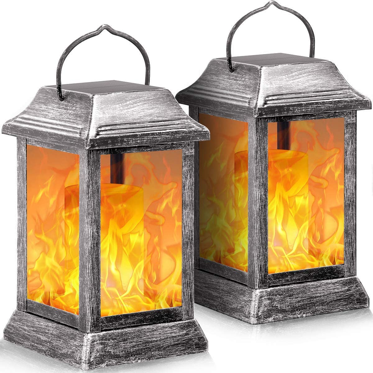 TomCare Solar Lights Metal Flickering Flame Solar Lantern Hanging Lanterns Outdoor Decorative Lighting Heavy Duty Solar Powered Waterproof Umbrella Lights for Garden Patio Pathway Deck Yard, 2 Pack