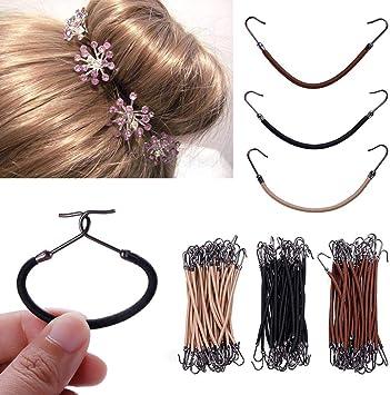 RUNGAO - 30 bandas elásticas para el pelo, 3 colores, gancho de ...