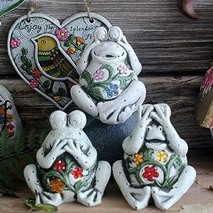 XHCP Set of 3 Not Listen & Not Watch & Not Speak Cute Frog Garden Statue Decoration | Ceramic Funny Garden Patio Yard Sculpture Ornament