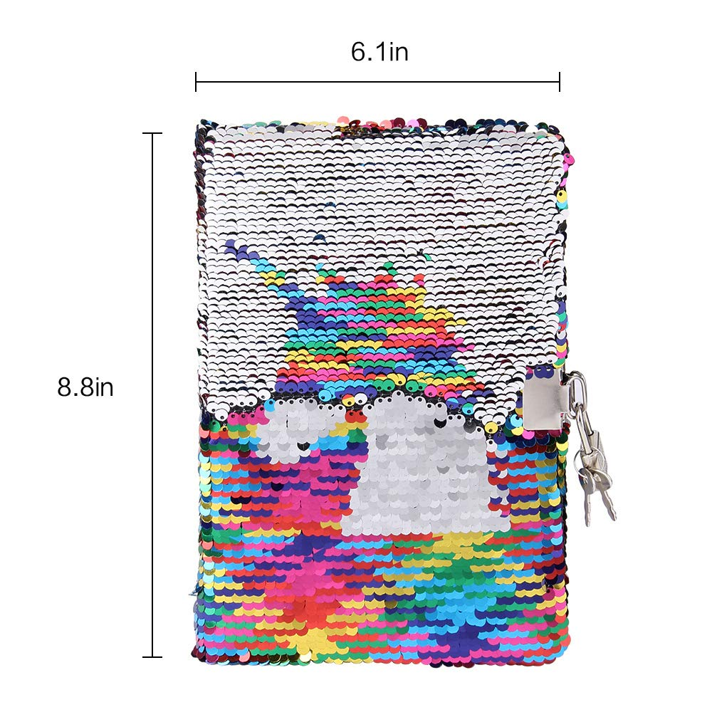 Sequin Notebook - PojoTech Mermaid Reversible Sequin Journal – Magic Travel Journal Notebook Gift for Adults and Kids (Rainbow Unicorn with Lock) by POJO TECH (Image #3)