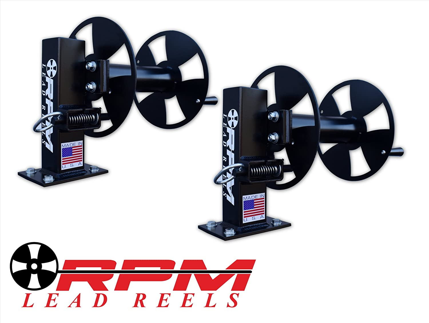 FIXED BASE WELDING CABLE LEAD REELS PAIR 10 BLACK SINGLE SET