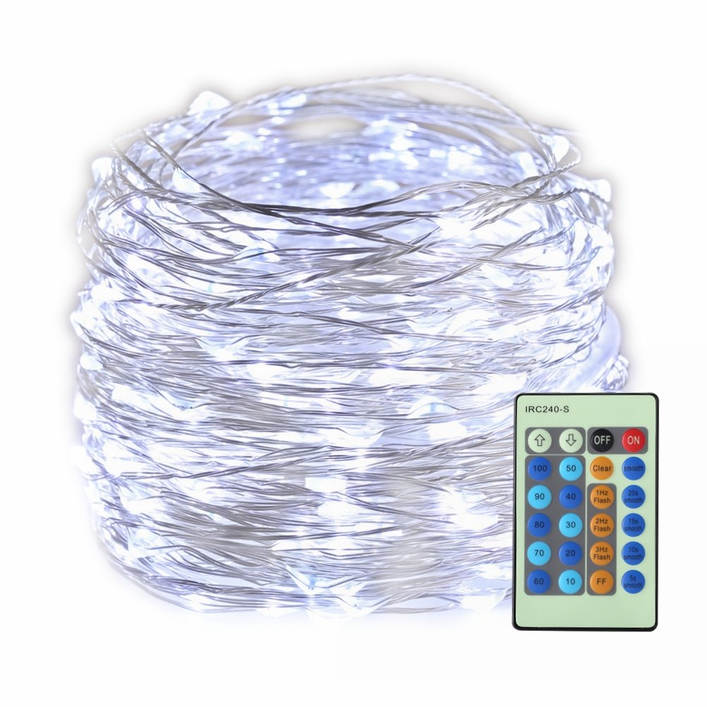 GZ BEYOUNG LED String Lights, 99ft 300 LED Fairy Lights Dimmable with Remote Control Waterproof Decorative Lights for Bedroom Wedding Centerpieces Outdoor Homes Party(Cool White)