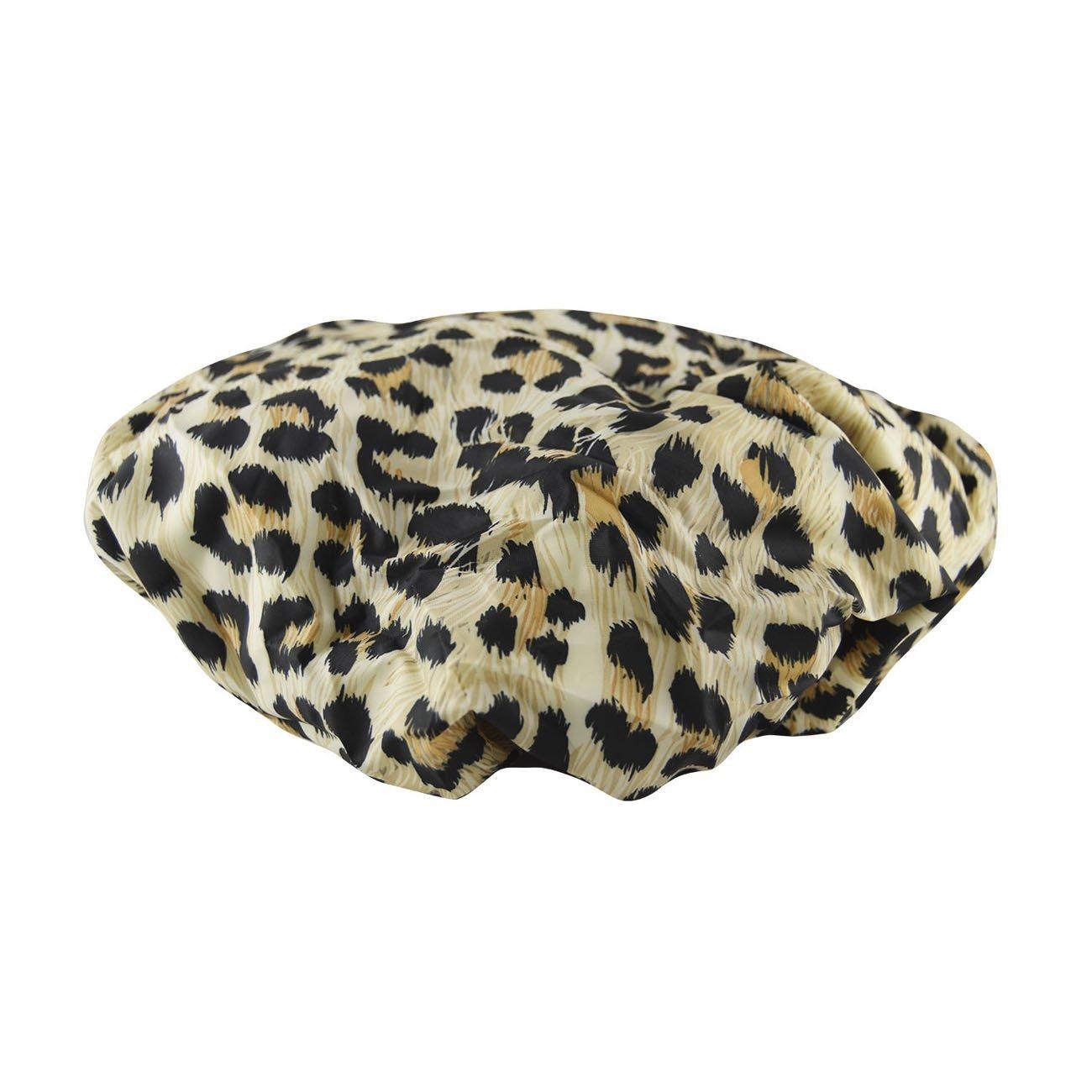 Betty Dain Socialite Collection Terry Lined Shower Cap, Waterproof Nylon Exterior, Reversible Design for Shower or Sleeping Cap, Oversized for All Hair Lengths, Elasticized Hem, Safari Spots : Beauty