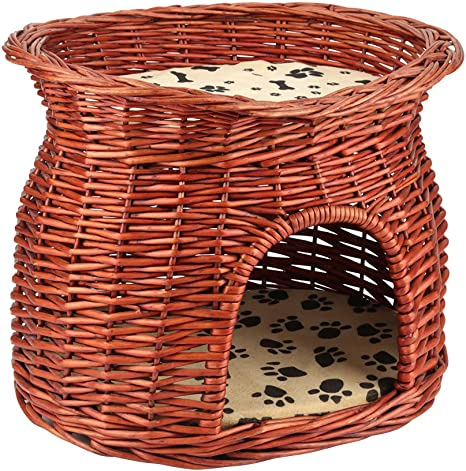 Zerone 2 Layers Cat Bed, Wicker Cat Pet Sleeping House Handmade Cat Basket Bed Cave with Soft Cusions, 17.32 x 12.99 x 13.19inch