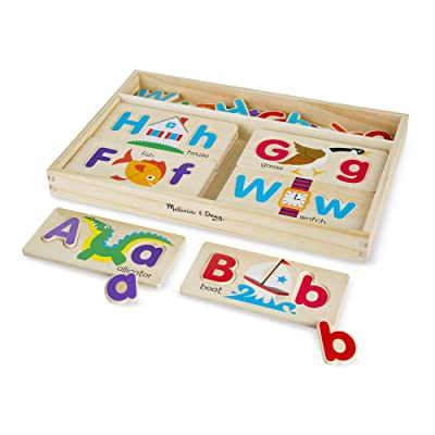 Melissa & Doug ABC Picture Boards - Educational Toy With 13 Double-Sided Wooden Boards and 52 Letters: Toys & Games