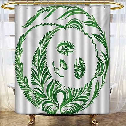 Lacencn ModernShower Curtains With Shower HooksUkrainian Folk Art Ceramic Tile Inspired Panda