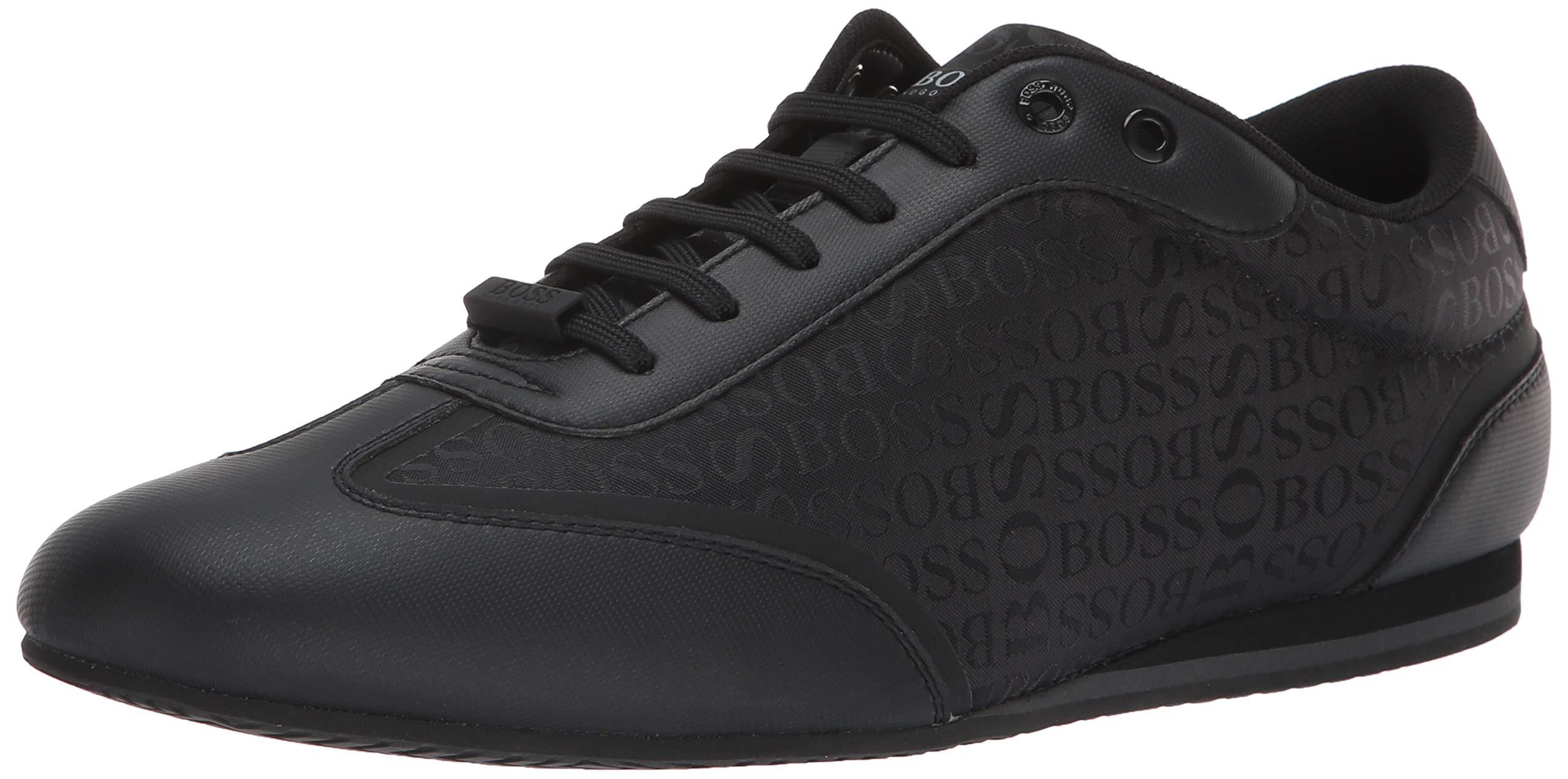 Hugo Boss BOSS Green Men's Lighter Low Boss Logo Nylon Sneakers, Black 42 Medium EU (9 US)