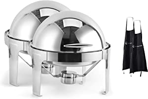 2 Pack 6 QT Round Roll Top Chafing Dish Chafer, Stainless Steel, Each Set Includes Food Pan, Water Pan, Fuel Holder, and Apron- Durable, shiny silver, keeps food warm in catered events