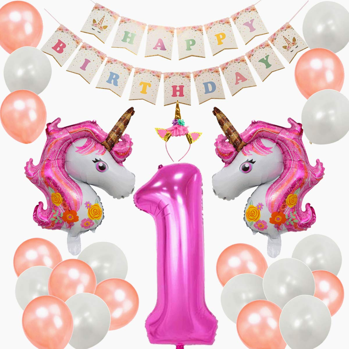 Amazon Unicorn 1st Birthday Party Decoration Set