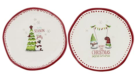 grasslands road 471164 mini decorative christmas holiday plates set of 2 - Decorative Christmas Plates